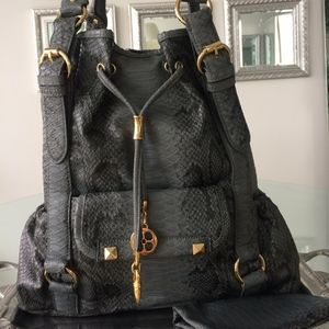 Iman Grey Black Faux Snake Skin Tote Large Bag